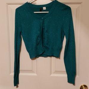 Bluish Green Short Cardigan